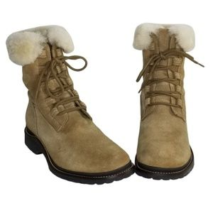 L.L.Bean Suede Tan Lace Up Ankle Boots Women's 9 M
